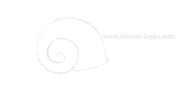 02.Как нарисовать улитку поэтапно карандашом