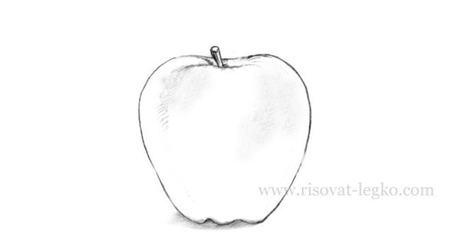 01.Как нарисовать яблоко карандашом поэтапно