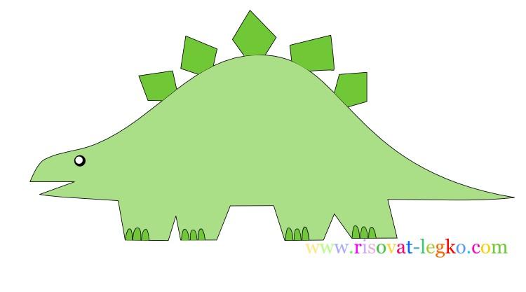 01.Рисование поэтапно для детей: рисуем динозавра