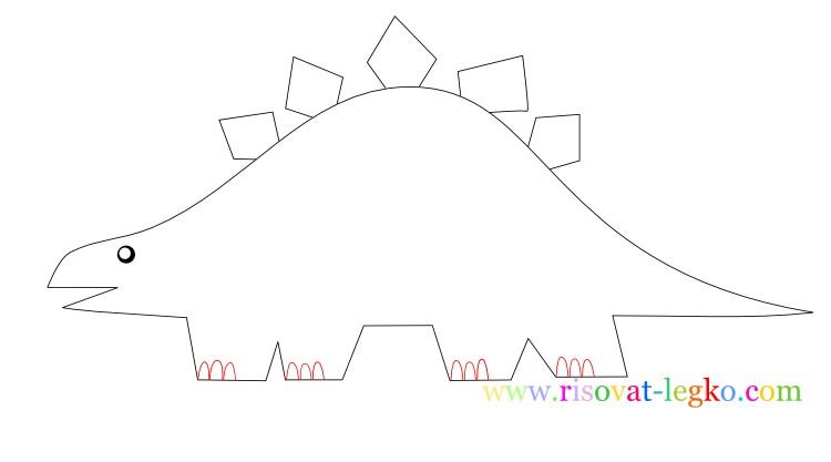 09.Рисование поэтапно для детей: рисуем динозавра