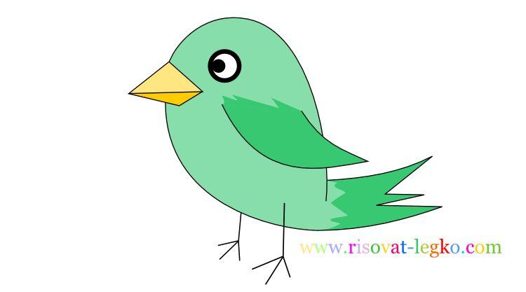 01.Уроки рисования для детей: рисуем красивую птицу
