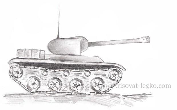 01.Как нарисовать танк карандашом поэтапно новичку