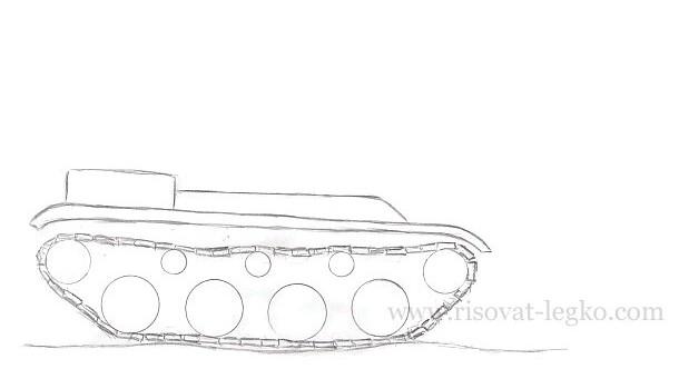 06.Как нарисовать танк карандашом поэтапно новичку