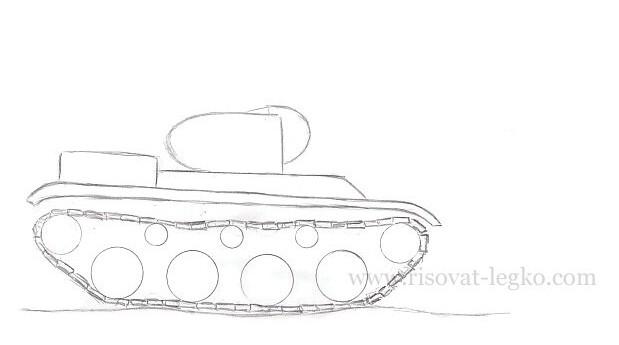07.Как нарисовать танк карандашом поэтапно новичку