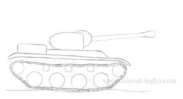 08.Как нарисовать танк карандашом поэтапно новичку