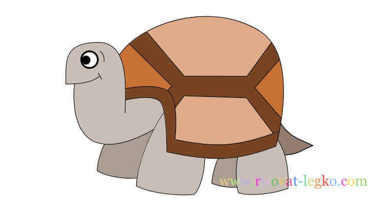 01.Поэтапное рисование для детей: рисуем черепаху