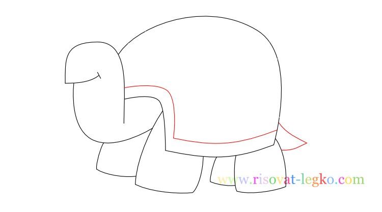 09.Поэтапное рисование для детей: рисуем черепаху