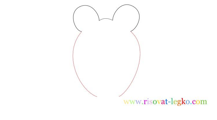 03.Следующий урок в рубрике «рисование для детей» - нарисуем легко веселую лягушку. Внимательно следите за поэтапными иллюстрациями урока, и у вас все получится! Рисуем лягушку вместе! Рисование для детей: как нарисовать лягушку Начинаем рисовать контуры лягушки – то, что вы видите на рисунке ниже больше похоже на уши Микки Мауса, но на самом деле – это контуры головы лягушки, где будут находиться глаза. Важно сделать их достаточно большими, по отношению к туловищу, чтобы рисунок получился красивым. Фото2 Далее нарисуйте линии туловища. Не соединяйте линии туловище внизу, оставьте достаточно места для лап лягушки. Фото3 Теперь переходим к поэтапному рисованию лап. Нарисуйте сначала одну переднюю лапку лягушки… Фото4 …затем нарисуйте вторую лапку. Не забудьте соединить передние лапки полукруглой линией туловища. Внимательно посмотрите рисунок ниже. Фото5 Продолжаем поэтапное рисование для детей и теперь рисуем поочередно задние лапки лягушки. Чтобы было легче, сначала нарисуйте стопу одной лапки. Фото6 Закончите рисовать лапку линией бедра лягушки. Фото7 Нарисуйте вторую лапку лягушки. Обратите внимание, у лягушек задние лапы довольно большие поэтому и на рисунке задние лапы должны быть большими. Фото8 Остается нарисовать глаза и рот лягушки. Глаза можете нарисовать фломастером или карандашом черного цвета. Глаза рисуются следующим образом: нарисуйте круг с толстой обводкой, внутри него еще один круг, смещенный вниз. Фото9 Спасибо за ваше внимание к этому уроку, жду вас в следующих уроках!