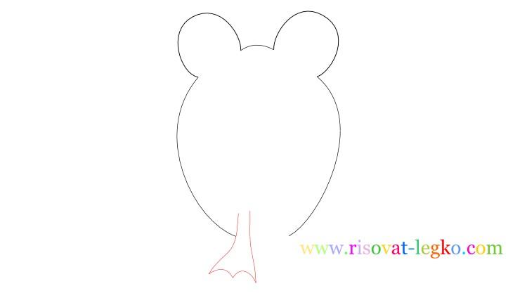 04.Следующий урок в рубрике «рисование для детей» - нарисуем легко веселую лягушку. Внимательно следите за поэтапными иллюстрациями урока, и у вас все получится! Рисуем лягушку вместе! Рисование для детей: как нарисовать лягушку Начинаем рисовать контуры лягушки – то, что вы видите на рисунке ниже больше похоже на уши Микки Мауса, но на самом деле – это контуры головы лягушки, где будут находиться глаза. Важно сделать их достаточно большими, по отношению к туловищу, чтобы рисунок получился красивым. Фото2 Далее нарисуйте линии туловища. Не соединяйте линии туловище внизу, оставьте достаточно места для лап лягушки. Фото3 Теперь переходим к поэтапному рисованию лап. Нарисуйте сначала одну переднюю лапку лягушки… Фото4 …затем нарисуйте вторую лапку. Не забудьте соединить передние лапки полукруглой линией туловища. Внимательно посмотрите рисунок ниже. Фото5 Продолжаем поэтапное рисование для детей и теперь рисуем поочередно задние лапки лягушки. Чтобы было легче, сначала нарисуйте стопу одной лапки. Фото6 Закончите рисовать лапку линией бедра лягушки. Фото7 Нарисуйте вторую лапку лягушки. Обратите внимание, у лягушек задние лапы довольно большие поэтому и на рисунке задние лапы должны быть большими. Фото8 Остается нарисовать глаза и рот лягушки. Глаза можете нарисовать фломастером или карандашом черного цвета. Глаза рисуются следующим образом: нарисуйте круг с толстой обводкой, внутри него еще один круг, смещенный вниз. Фото9 Спасибо за ваше внимание к этому уроку, жду вас в следующих уроках!