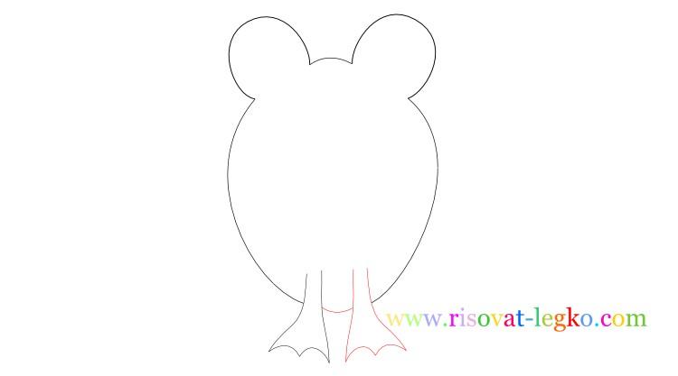 05.Следующий урок в рубрике «рисование для детей» - нарисуем легко веселую лягушку. Внимательно следите за поэтапными иллюстрациями урока, и у вас все получится! Рисуем лягушку вместе! Рисование для детей: как нарисовать лягушку Начинаем рисовать контуры лягушки – то, что вы видите на рисунке ниже больше похоже на уши Микки Мауса, но на самом деле – это контуры головы лягушки, где будут находиться глаза. Важно сделать их достаточно большими, по отношению к туловищу, чтобы рисунок получился красивым. Фото2 Далее нарисуйте линии туловища. Не соединяйте линии туловище внизу, оставьте достаточно места для лап лягушки. Фото3 Теперь переходим к поэтапному рисованию лап. Нарисуйте сначала одну переднюю лапку лягушки… Фото4 …затем нарисуйте вторую лапку. Не забудьте соединить передние лапки полукруглой линией туловища. Внимательно посмотрите рисунок ниже. Фото5 Продолжаем поэтапное рисование для детей и теперь рисуем поочередно задние лапки лягушки. Чтобы было легче, сначала нарисуйте стопу одной лапки. Фото6 Закончите рисовать лапку линией бедра лягушки. Фото7 Нарисуйте вторую лапку лягушки. Обратите внимание, у лягушек задние лапы довольно большие поэтому и на рисунке задние лапы должны быть большими. Фото8 Остается нарисовать глаза и рот лягушки. Глаза можете нарисовать фломастером или карандашом черного цвета. Глаза рисуются следующим образом: нарисуйте круг с толстой обводкой, внутри него еще один круг, смещенный вниз. Фото9 Спасибо за ваше внимание к этому уроку, жду вас в следующих уроках!