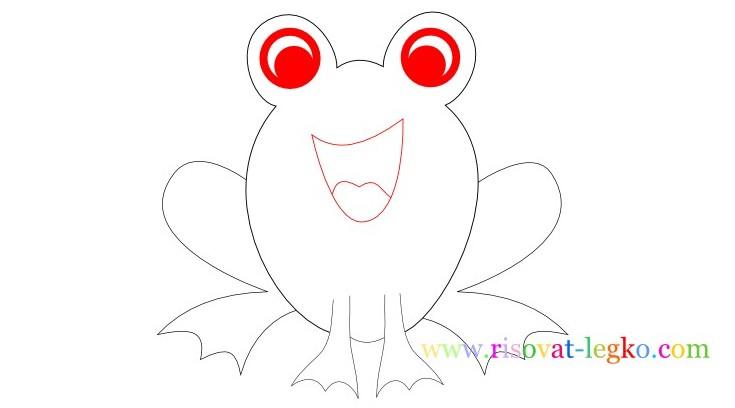 09.Следующий урок в рубрике «рисование для детей» - нарисуем легко веселую лягушку. Внимательно следите за поэтапными иллюстрациями урока, и у вас все получится! Рисуем лягушку вместе! Рисование для детей: как нарисовать лягушку Начинаем рисовать контуры лягушки – то, что вы видите на рисунке ниже больше похоже на уши Микки Мауса, но на самом деле – это контуры головы лягушки, где будут находиться глаза. Важно сделать их достаточно большими, по отношению к туловищу, чтобы рисунок получился красивым. Фото2 Далее нарисуйте линии туловища. Не соединяйте линии туловище внизу, оставьте достаточно места для лап лягушки. Фото3 Теперь переходим к поэтапному рисованию лап. Нарисуйте сначала одну переднюю лапку лягушки… Фото4 …затем нарисуйте вторую лапку. Не забудьте соединить передние лапки полукруглой линией туловища. Внимательно посмотрите рисунок ниже. Фото5 Продолжаем поэтапное рисование для детей и теперь рисуем поочередно задние лапки лягушки. Чтобы было легче, сначала нарисуйте стопу одной лапки. Фото6 Закончите рисовать лапку линией бедра лягушки. Фото7 Нарисуйте вторую лапку лягушки. Обратите внимание, у лягушек задние лапы довольно большие поэтому и на рисунке задние лапы должны быть большими. Фото8 Остается нарисовать глаза и рот лягушки. Глаза можете нарисовать фломастером или карандашом черного цвета. Глаза рисуются следующим образом: нарисуйте круг с толстой обводкой, внутри него еще один круг, смещенный вниз. Фото9 Спасибо за ваше внимание к этому уроку, жду вас в следующих уроках!