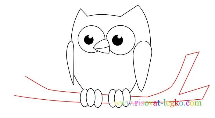 08.Уроки рисования карандашом для детей – рисуем сову
