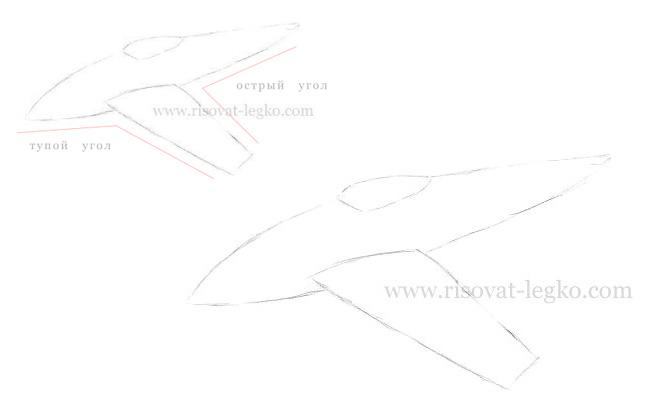04.Как нарисовать самолет карандашом поэтапно