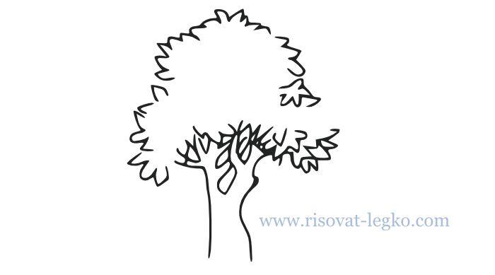 01.Как нарисовать дерево карандашом поэтапно легко