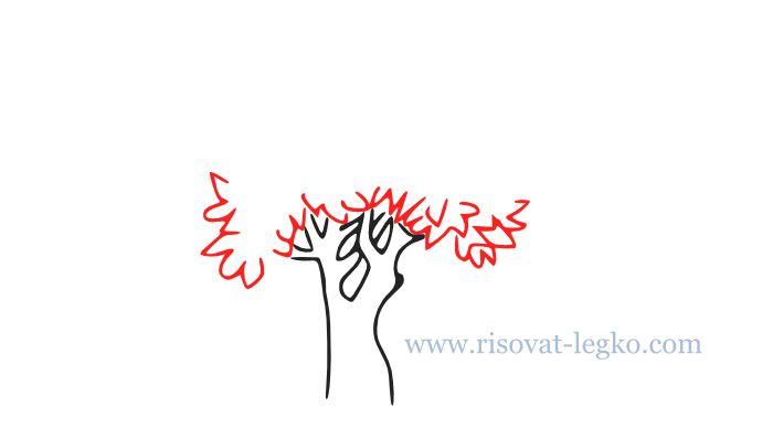 04.Как нарисовать дерево карандашом поэтапно легко