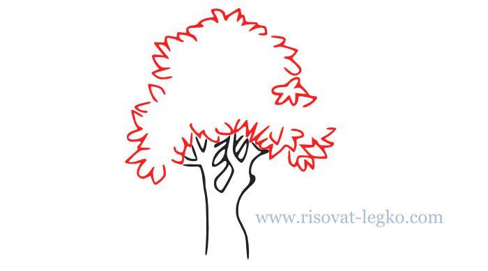 05.Как нарисовать дерево карандашом поэтапно легко