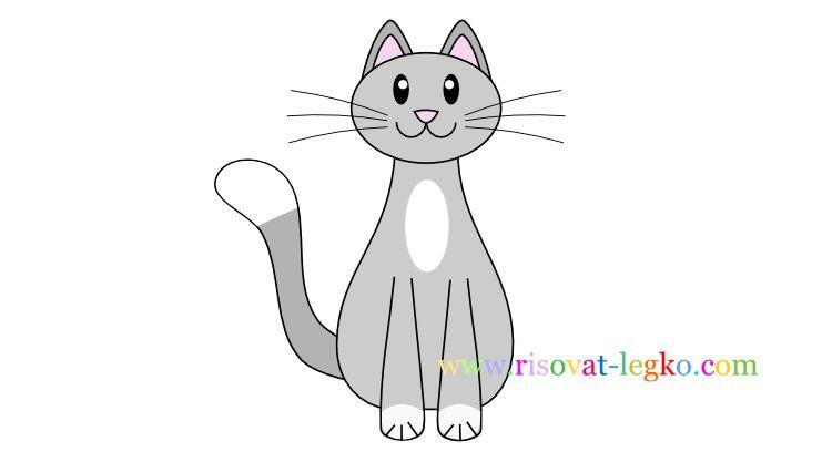 01.Как нарисовать кошку ребенку карандашом