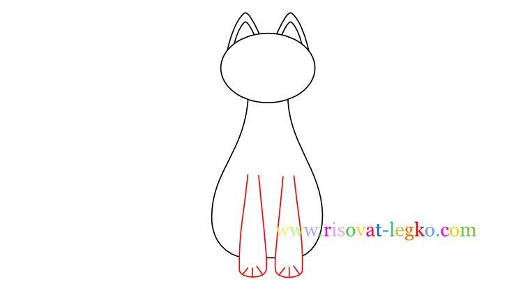 05.Как нарисовать кошку ребенку карандашом