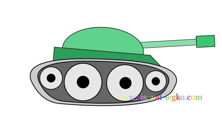 01.Как нарисовать танк поэтапно ребенку