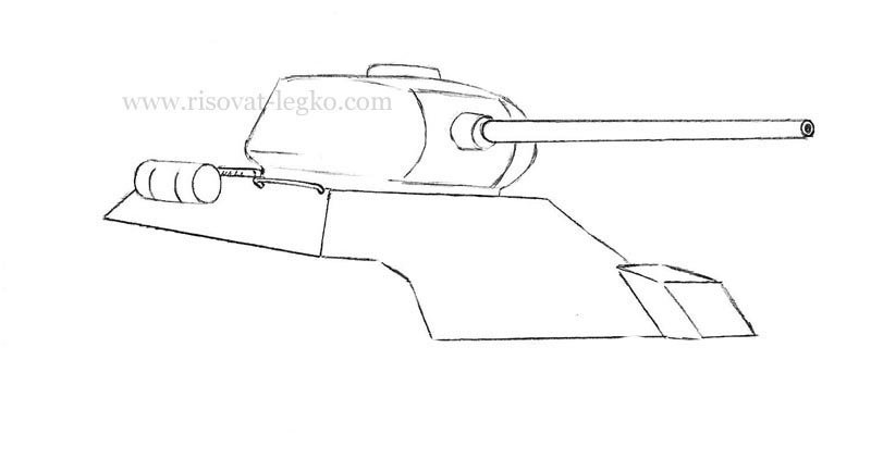 05.Как нарисовать танк т 34 карандашом поэтапно