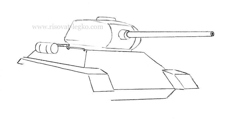 06.Как нарисовать танк т 34 карандашом поэтапно