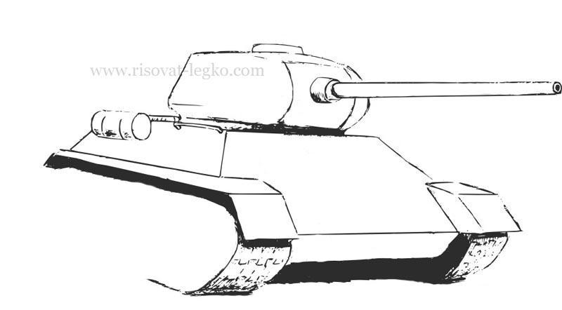 07.Как нарисовать танк т 34 карандашом поэтапно