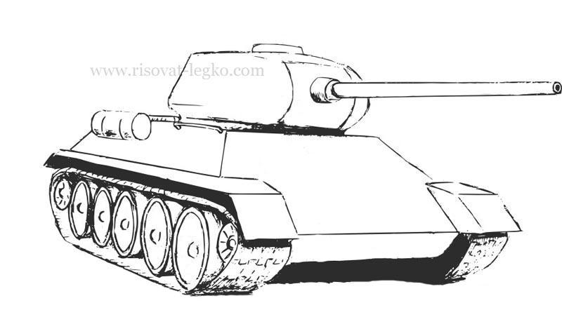 08.Как нарисовать танк т 34 карандашом поэтапно