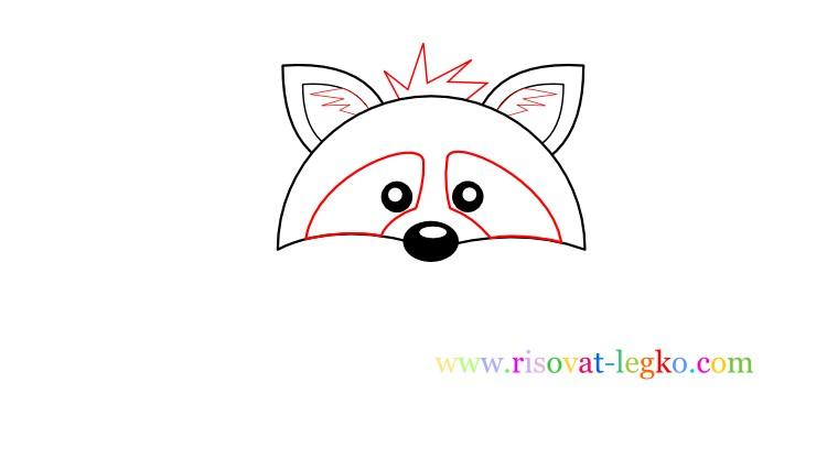 05.Рисование для детей поэтапно: как рисовать енота
