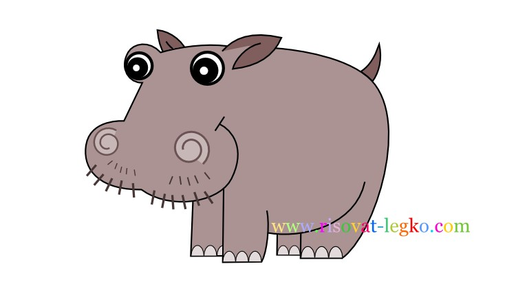 01.Рисование с детьми: рисуем симпатичного бегемота
