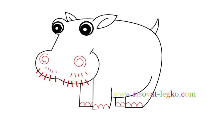 09.Рисование с детьми: рисуем симпатичного бегемота