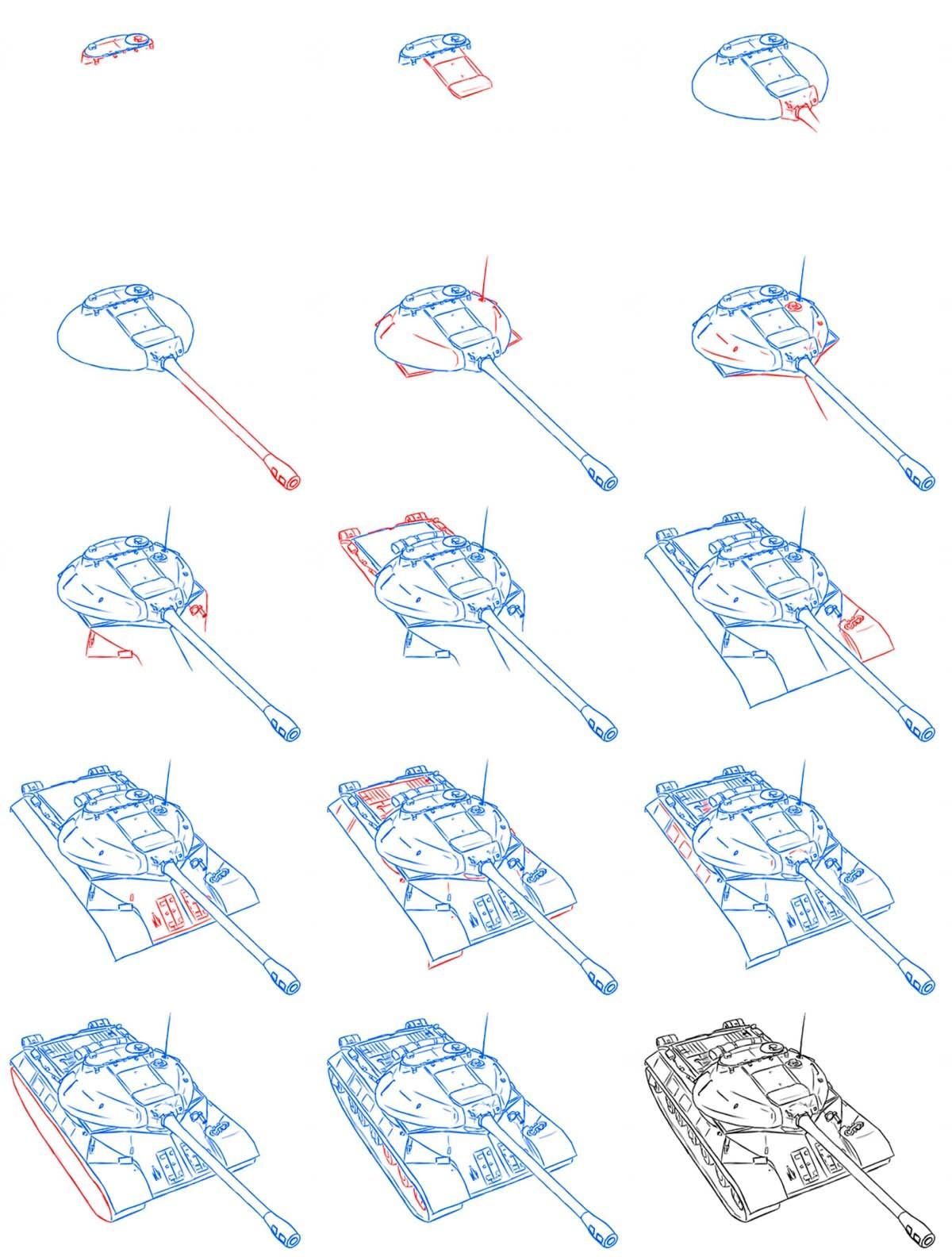 Нарисовать танк поэтапно карандашом детям